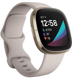 Fitbit sense blanco/dorado smartwatch asistentes google y alexa gps estrés FB512GLWT SENSE - +23110
