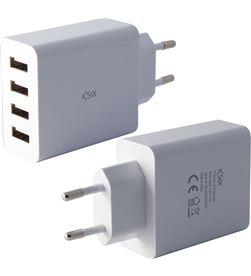 Ksix CONBXCD4U cargador pared 4 puertos 5 amperios carga inteligente blanco - CONBXCD4U