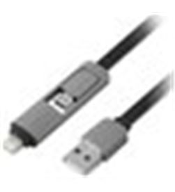 Todoelectro.es cable usb(a) a lightning/microusb 1life 1m negro 1ifepa2in1flat - A0025144