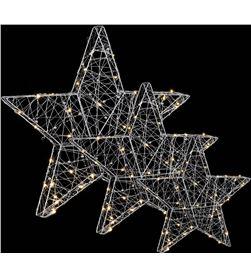 Luca set de 3 estrellas led independientes 55cm 40cm y 25cm a pilas 8718861498493 - 72034