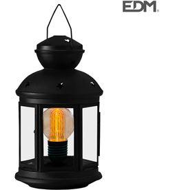 Edm farol metalico vintage negro con bombilla standard incluida 12x12x20,5cm 3 8425998716665 - 71666