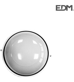 Edm aplique aluminio ip54 redondo blanco 1xe27 100w modelo cambrils ø25.4cm 8425998343007 - 34300
