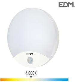 Edm aplique redondo exterior led 15w 1250 lumen 4.000k con sensor 8425998325379 - 32537