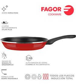 Fagor sarten optimax ø26cm roja acero aisi 430 8429113800857 - 78559