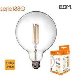 Edm bombilla globo filamento led ø 125 mm e27 6w 600 lm 3200k luz calida 8425998986037 - 98603