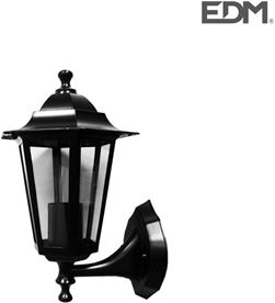 Edm farol aluminio y cristal pared negro 34x17x11cm 1xe27 mod. zurich ip44 8425998734126 - 73412