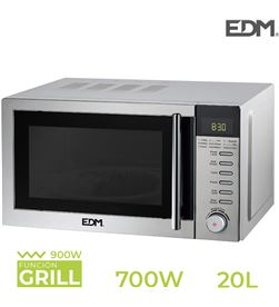 Edm microondas 20 litros cromado 700w con grill 8425998074093 - 07409