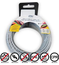 Edm carrete cablecillo flexible 2,5mm gris 10mts libre-halogenos 8425998284591 - 28459