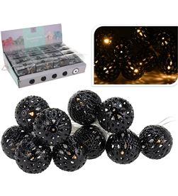 Decorative guirnalda a pilas led bolas negras (2,5cm), 10 led luz caliente 8719202336726 - 71313