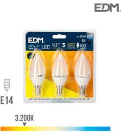 Edm kit 3 bombillas vela led e14 5w 400 lm 3200k luz calida 8425998982046 - 98204
