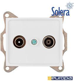 Toma intermedia de señal para tv y radio de empotrar blanco s.europa Solera 8423220218888 - 42998
