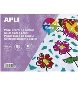 Todoelectro.es bloc de papel charol apli 16651 - 10 hojas - 32*24 cm - colores surtidos 16651 a - API-BLOC PAPEL 16651