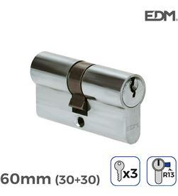 Bombin niquel 60mm (30+30mm) leva corta r13 con 3 llaves incluidas Edm 8425998851779 - 85177