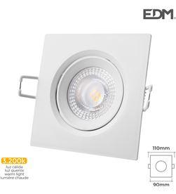 Edm downlight led empotrar 5w 380 lumen3.200k cuadrado marco blanco 8425998316568 - 31656