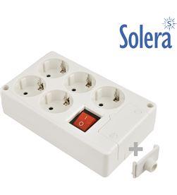Solera base bipolar 5 tomas con t/t lateral 16a 250v color blanco interruptor lumi 8423220075801 - 41221