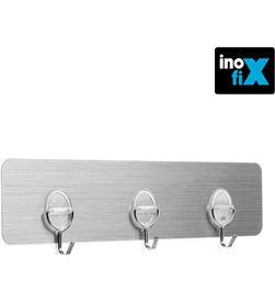 Inofix colgador adherente reutilizable con 3 ganchos móviles acero inox . 8414419015562 - 66674