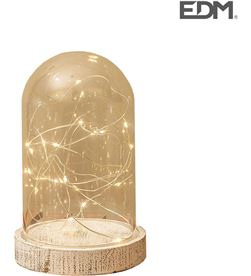 Edm jarron de cristal con base de madera vintage 20 leds 10x16cm 3xaa 8425998716740 - 71674
