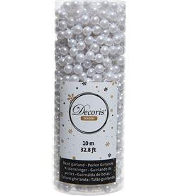 Decoris cadena de bolas decorativas navideño 10m color blanco 8716128521656 - 72010