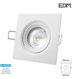 Edm downlight led empotrable 5w 380 lumen 6.400k cuadrado marco blanco 8425998316551 - 31655