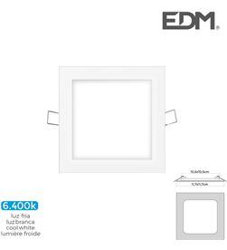 Edm mini downlight led 6w 320 lumen cuadrado 12cm 6.400k marco blanco 8425998316056 - 31605