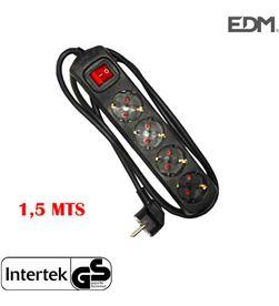 Edm base multiple 4 tomas schuko com interruptor 1,5m 3x1,5mm color negro 8425998410136 - 41013