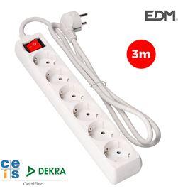 Edm base multip. 6 tomas cable de 3 mts.t/tl 3x1,5mm 8425998410464 - ELEK41046