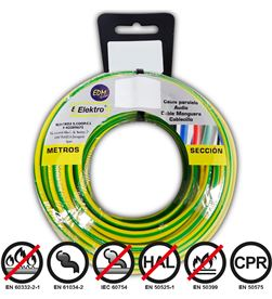 Edm 28418 #19 carrete cablecillo flexible 1,5mm bicolor 20mts libre-halogenos 8425998284188 - 28418 #19