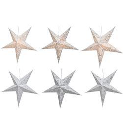 Decoris estrella de papel con luz 60cm plata y blanca 8718533910919 - 72223