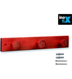 Inofix colgador madera fresno 3 pomos con textura rojo 8414419012172 - 66698