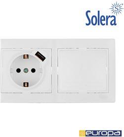 Solera kit de conmutador + base con usb + marco de 2 elementos 154x81x10mm s.europ 8423220096301 - 42974