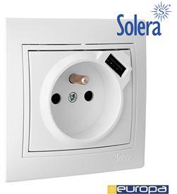 Solera base bipolar 16a 250v con usb con obturador toma francesa s.europa 8423220209176 - 42942