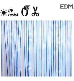 Edm cortina cinta transparente- azul plastico 90x210cm 32 tiras 8425998759570 - 75957