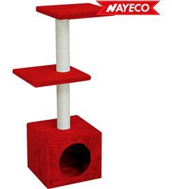Nayeco 06919 #19 rascador amelie rojo tres alturas con gatera 89x30x30cm 8427458008846 - 06919 #19