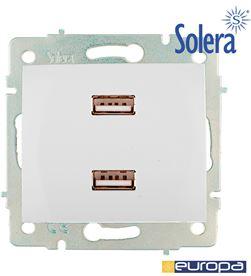 Solera 42923 #19 cargador doble usb 230v 5v 4200ma blanco de empotrar erp2usb s.europa soler 8423220208902 - 42923 #19