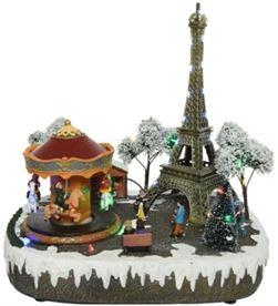 Decoris 72232 escena navideña paris con luz, musica y movimiento - 8720093309461