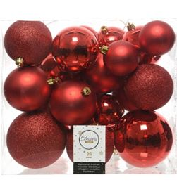 Decoris 72208 caja de 26 bolas rojas varios tamaños - 8718533699418