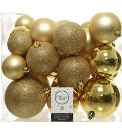 Decoris 72206 caja de 26 bolas doradas varios tamaños - 8718533699364