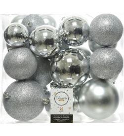 Decoris 72207 caja de 26 bolas plateadas varios tamaños - 8718533699395