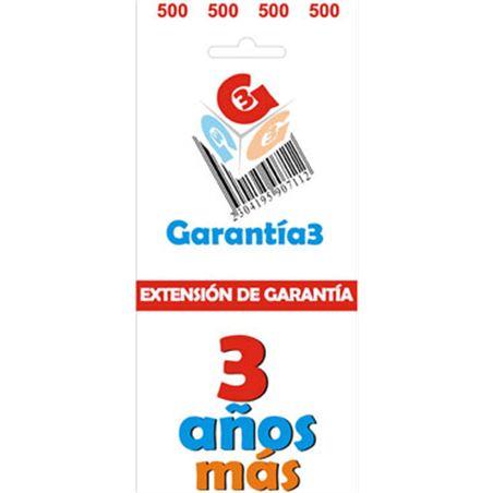 Para productos hasta 500eur. extensión de garantía de tres años adicionales