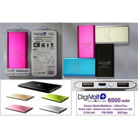 Digivolt pb metalica 6500mah-doble usb-2100a(60/c pb3009