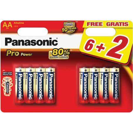 Pila alcalinas Panasonic 1.5v lr03pp/8bp ( 6+2-bl PANLR03PPG_8BP