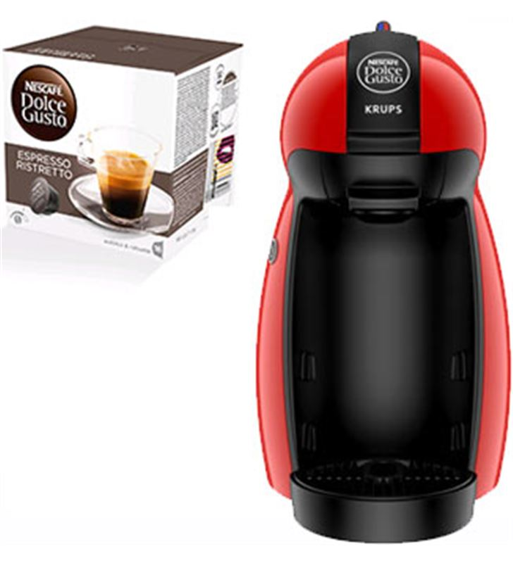 Cafetera+paq cafe dolce gusto Krups piccolo roja PACKKP1006(3P) - PACKKP1006IB