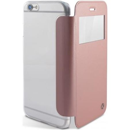 Funda Ksix crystal view iphone 6/6s dorada rosa B0925FU27GR