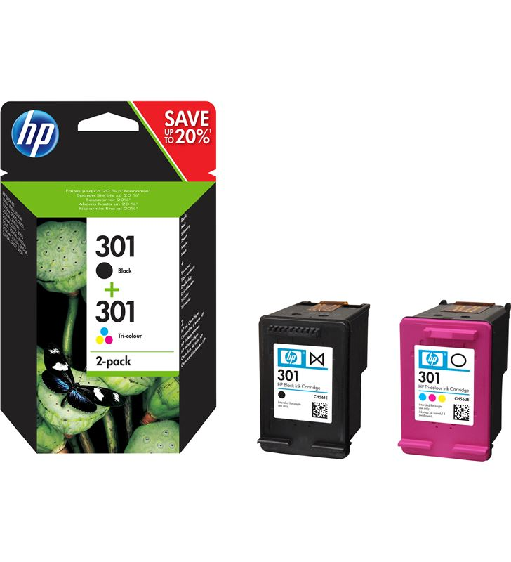 Hp N9J72AE cartucho tinta 301 combo 2-pack negro-tricolor - N9J72AE