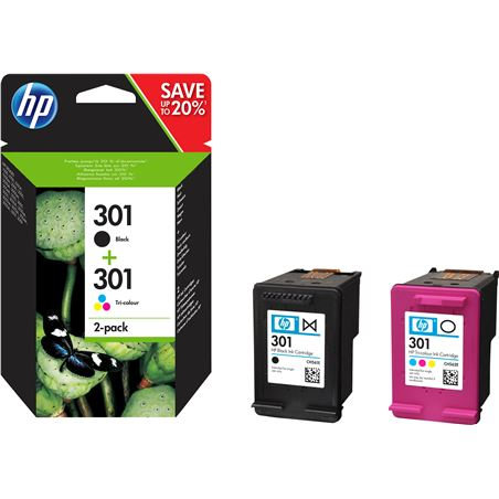 Cartucho tinta Hp 301 combo 2-pack negro-tricolor N9J72AE
