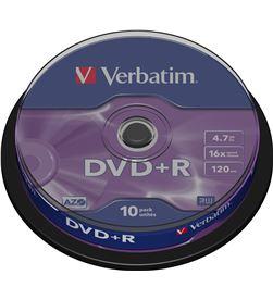 Bobina 10 dvd +r Verbatim 4,7 gb 16x VERDVDMASR_10 - VERDVDMASR-10