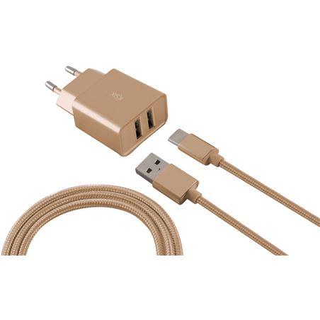 Todoelectro.es carg pared dual 2.4a+cable usb-micro usb metalizado dorado conbxcd2u2md