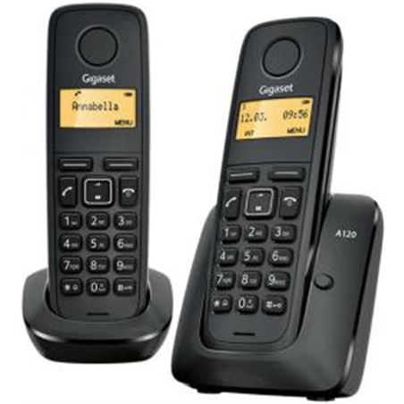 Siemens telefono inalambrico duo gigaset a120duo, negro