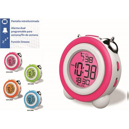 Reloj despertador Daewo DCD220PK, pantalla retroil