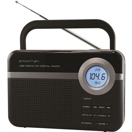 Radio digital pll usb/microsd/alarma Brigmton negro BRIBT_251_N